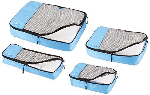 Amazon Basics Kleidertaschen-Set, 4-teilig, je 1 kleine, mittelgroße, große und schmale Packtasche, Himmelblau