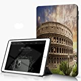 Carcasa para iPad 10.2 Inch, iPad Air 7.ª Generación ,Foro Coliseo Color Azul Roma Italia Parques Flavios Rojo Coanfiteatro romano roma lo,incluye soporte magnético y funda para dormir/despertar