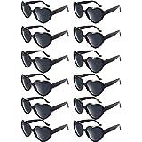 Blulu 12 Pieces Neon Colors Heart Shape Sunglasses for Women Party Favors and Festival (Black)