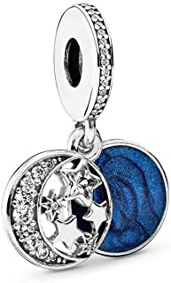 PANDORA Vintage Night Sky Dangle Charm, Sterling Silver, Shimmering Midnight Blue Enamel & Clear Cubic Zirconia, One Size