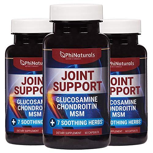 Extra sterkte natuurlijke gewrichtsondersteuning - 60 stuks (pakket van 3) met glucosamine-chondroïtinesulfaat MSM en kurkuma - Voor flexibiliteit bij pijnverlichting Schouderknie - Gemaakt in de VS