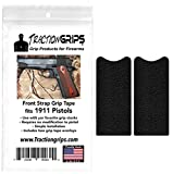 Tractiongrips Two-Pack Grip Tape Overlays for 1911 Pistol Front Strap (Black Rubber)