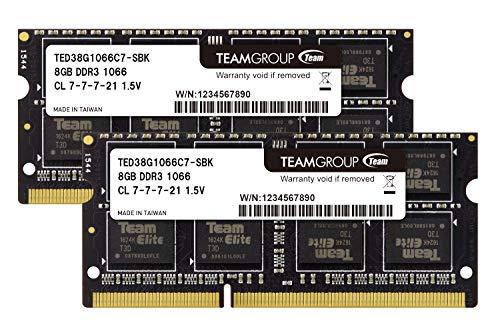 Team ノートPC用メモリ SO-DIMM-DDR3 永久保証 ECOパッケージ (1066Mhz PC3-8500 1.5V 8GBx2)