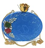 Trend Ocean blue resin stone pearl flower stylish purse box clutch party marriage bag