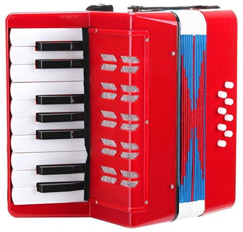 Classic Cantabile Bambino Rosso Kinder Akkordeon, Rot (ab 3 Jahre, 17 Noten Tasten, 8 Bässe, einstellbare...