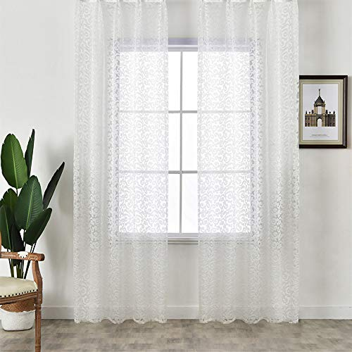 NAPEARL Pretty Jacquard Sheer Curtains 84 Inches Long, Pencil Pleat Light Filtering Sheer Curtains, Set of 2 Patterned Voile Curtains ( Each 52 x 84 Inch, White )