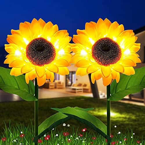 Sunflower Solar Lights Outdoor Garden Decorative Garden Stakes, Solar LED Pathway Decor Lights, Solar Flowers, IP65 Waterproof for Garden Patio Lawn Yard Porch Walkway(2 Pack)