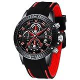 Men Watch, MF Mini Focus Chronograph Waterproof Sport Analog Quartz Watches Red Silicon Strap Fashion Wristwatch for Men