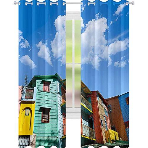 YUAZHOQI Tende Argentina Colorate Case a Buenos Aires La Boca Tende oscuranti per soggiorno 132 x 182 cm