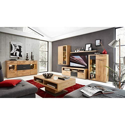 Lomadox Komplett Wohnwand Set Wildeiche Bianco Massiv mit Graphit inkl. Sideboard & Couchtisch