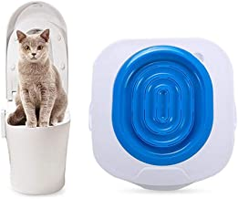 KOBWA Cat Toilet Training Kit, Professional Cat Toilet Trainer, The Best Pet Toilet Training Seat Tray, Pet Kitty Potty Train System Kit with Step by Step Training Guide(Blue)