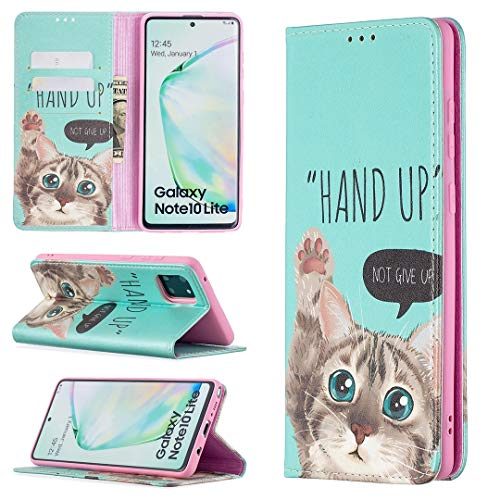 Carcasa de telefono Para Samsung Galaxy A81 Premium PU Cartera de cuero, patrón impreso Cuero + TPU Funda de cubierta inferior con ranura para tarjeta, caja de cubierta magnética de 2 en 1 con función