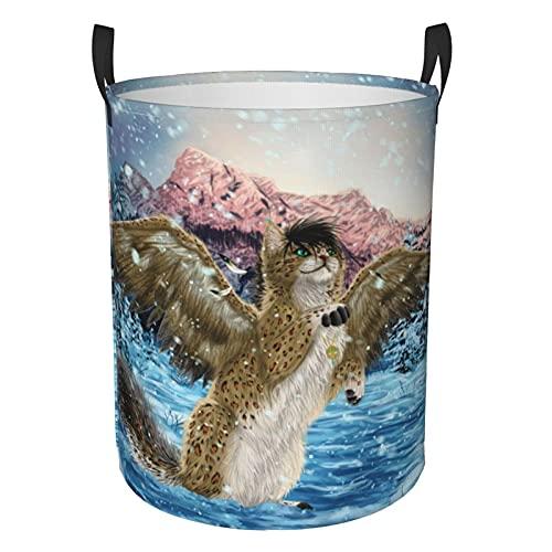 Cesta de lavandería circular con diseño de alas de animales mágicos, diseño de copos de nieve, plegable, redonda, organizador de ropa sucia