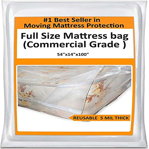 Full Mattress Bag Cover for Moving Storage - Plastic...