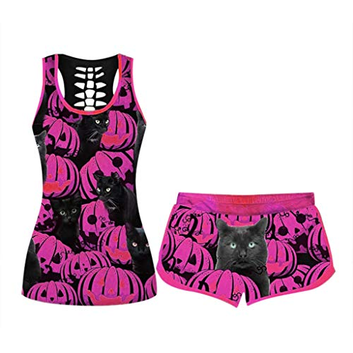 Whear Plus Size 2 Piece Shorts Set for Women,Tracksuit Halloween Print Tank Tops and Shorts Lounge Wear Sport Outfits Pink