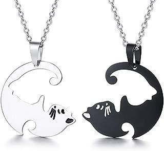 Best Friend Necklaces Yin Yang Couple Cat Friendship Necklaces-Couple Gifts Cat Puzzle Pendant Enameled Split Taoism Yin Yang Pendant BFF Necklace for 2