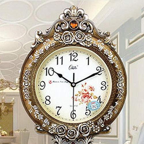 LIUFUHAON Europäische Retro Quarzuhr Art Deco Wohnzimmer Wanduhr modernes Design Dekoration Digitale große dekorative Zimmer - Style_D_16_inch