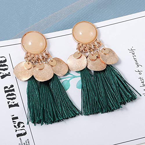 Wonderful Day Pendientes de Borla Bohemia para Mujer Tela de Seda de algodón Flecos Largos Pendientes Colgantes Pendientes joyería Femenina, Verde