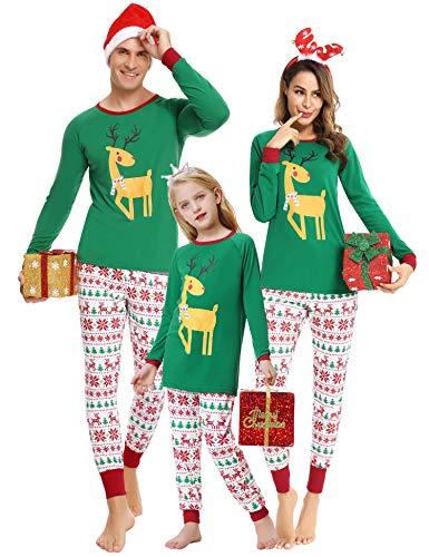 Doaraha Pijamas de Navidad Familia Conjunto Pantalon y Top Manga Larga Pijama 2 Piezas Ropa de...