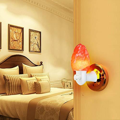 2 Pack Himalayan Salt lamp Night Light Salt Rock Hand Carved Natural Pink Himalayan Salt Lamps for bedrooms Night Light Plug in Wall Light Bulb Air Purifying Lighting/Decor
