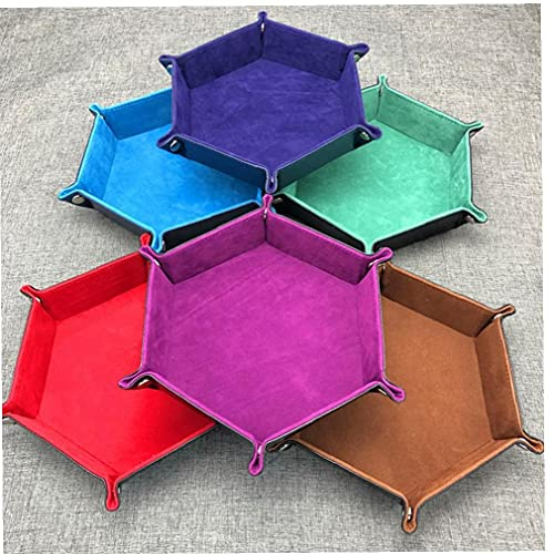 1 Unid Hexagone PU Cuero Bandejas Plegables Bandejas Tela para Dados Juegos Mesa Mesa Escritorio Decorativo Caja Almacenamiento Bandeja Color Aleatorio 18 * 18 Cm Color Aleatorio