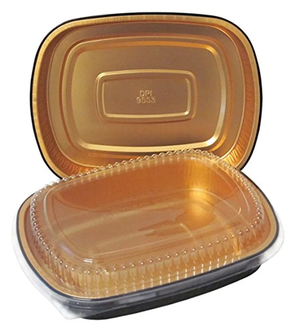 Durable Packaging Black and Gold Pan with Lid, Large (Pack of 50)