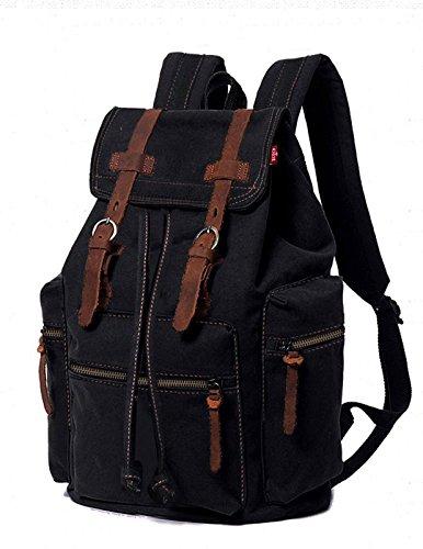 Agent X Canvas Rucksack für Herren Damen Leder Rucksack Rucksack Laptop Tote Schul Schule Military Schulter Rucksack Wandern Tasche ABA012