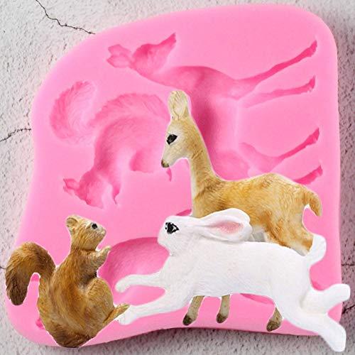 UNIYA Animal Conejo Fondant Molde de Silicona Herramienta de decoración Molde de Chocolate Molde de Pastelcerámica Suave Utensilios de Cocina de Cocina