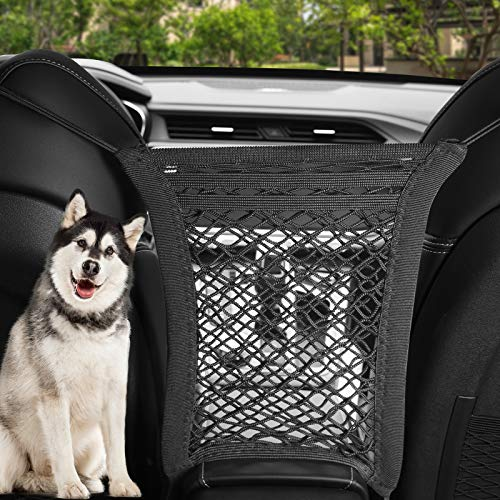 Bestdoggo Dog Car Barrier 3 Layers Back Safety Mesh Seat Stretchable Organizer, for Safe Driving, Design for Safety of Driving with Children & Pets Dog Barrier (Black)