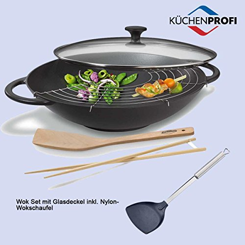 Wok Wok in ghisa con coperchio in vetro e pala di Küchenprofi | pala con manico ergonomico in acciaio inox | in Set di 2da rivenditore autorizzato