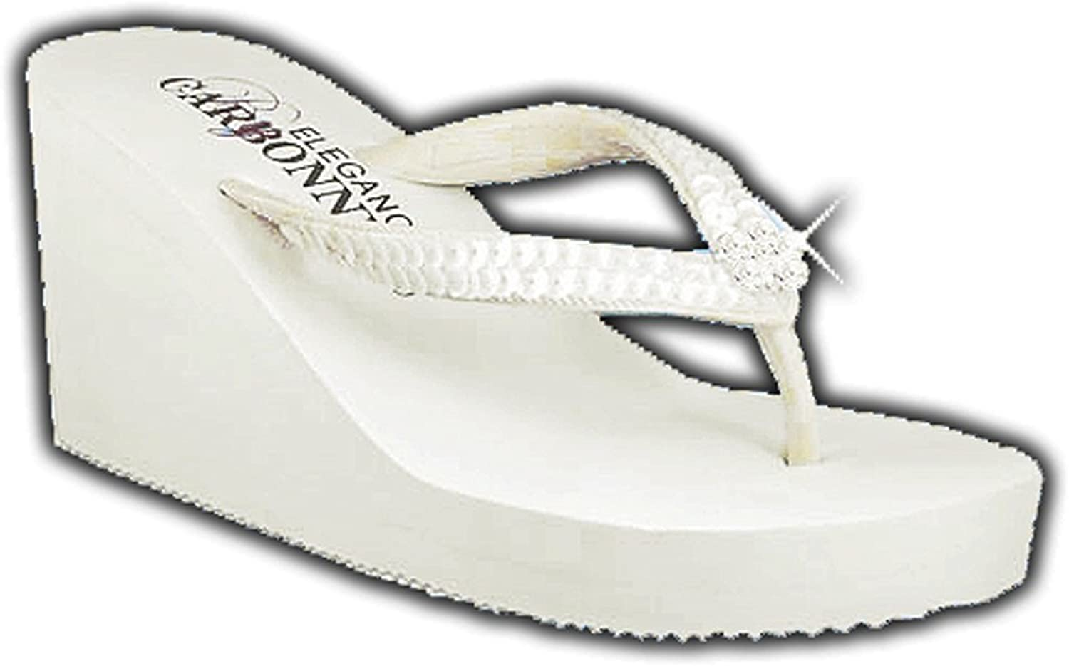 Elegance by Carbonneau Breeze Women's High Heel Flip Flop Ivory Foam Rubber Sandal