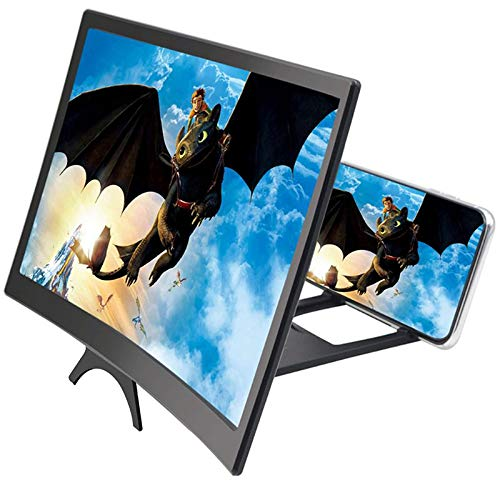 3D-Lupe, 30,5 cm, HD-Smartphone-Bildschirm, vergrößert Filme, Videos, Verstärker Projektor mit Faltbarer Handy-Halterung, Ständer für iPhone Samsung alle Handys