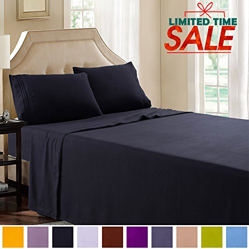 Shilucheng Bed Sheets Set Microfiber 1800 Thread Count Percale Super Soft and Comforterble| 16 Inch Deep Pockets | Wrinkle Fade and Hypoallergenic - 4 Piece (California King, Black)
