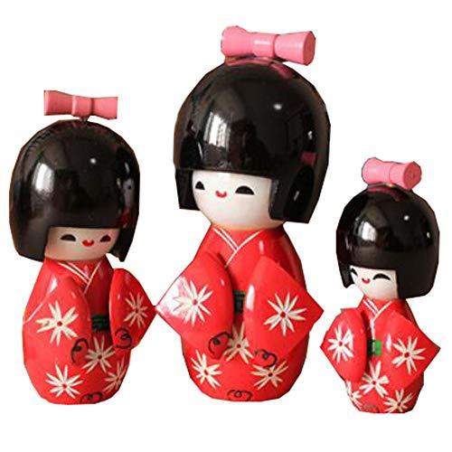 Black Temptation 3 Piezas de Geisha Japonesa muñeca Sushi Restaurante decoración Adornos artesanales Regalo marioneta Japonesa muñeca Kimono muñeca Juegos para niña (Kokeshi # 10)