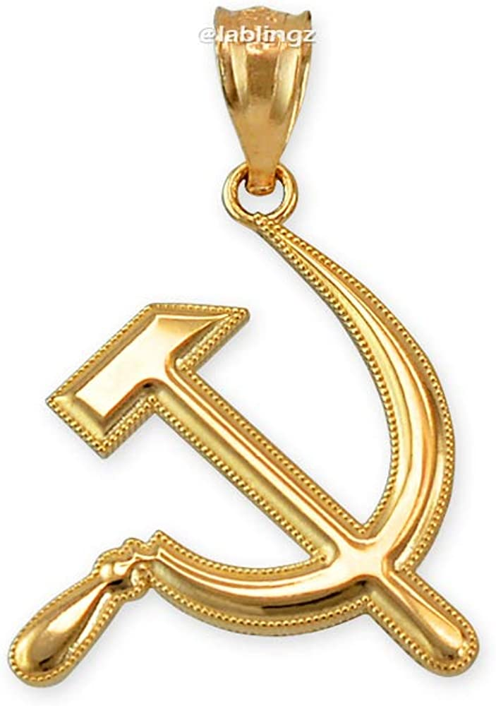 LA BLINGZ 10K Yellow Gold Hammer and Sickle Charm Pendant