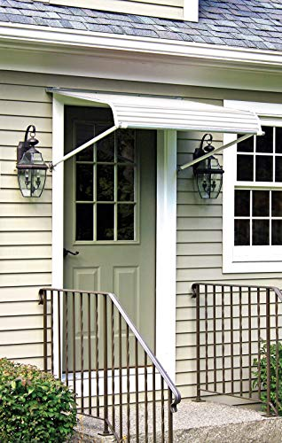 NuImage Awnings 60425 Series 2500 Aluminum Door Canopy with Support Arms, White