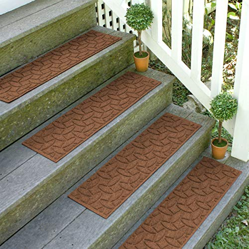 Bungalow Flooring Waterhog Stair Treads, Set of 4, 8-1/2 x 30 inches, Made in USA, Durable and Decorative Floor Covering, Indoor/Outdoor, Water-Trapping, Ellipse Collection, Dark Brown