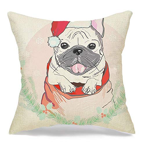 Decorative Linen Square Throw Pillow Cover Black Cute Trendy French Bulldog Red Christmas Animals Wildlife Accessory Cap Design Character Dog Cozy Cushion Pillowcase Case for Couch Car 16 x 16 Inch