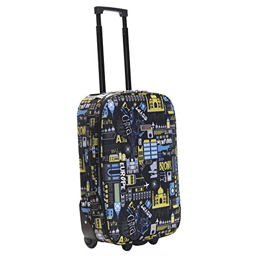 Slimbridge Cabin Hand Luggage Carry-on Suitcase Bag Super Lightweight 55 cm 2.3 kg 31 litres 2 Wheels, Algarve Black/Blue
