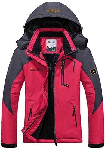 Wantdo Damen Wanderjacke Warme Gefütterte Skijacke Outdoo Extra Warm Rosarot S