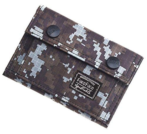 Men Teenage Boys Camouflage Flap Wallet Oxford Tri-Fold Zip...