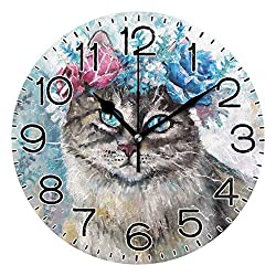 Vintage Colorful Flowers Kitty Cat Wall Clock Battery Operated Non Ticking Silent Quartz Analog Rustic Farmhouse Round Clock Retro Decor for Home Kitchen Living Room Bathr