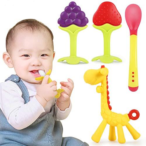 Winload Beißring für Babys, 5 Stück Beißring baby Kühlend, Kleinkinder Beissring für Zum Zahnen, BPA - frei, Natürliche Silikon, Beißring Spielzeug für Säugling