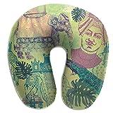 LXJ-CQ Nackenkissen Elefant Peacork Vintage Style mit indischem U-förmigen Reisekissen Ergonomisch...
