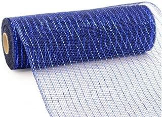 Deco Poly Mesh Ribbon - 10 Inch x 30 Feet, Metallic Navy Blue and Royal Foil