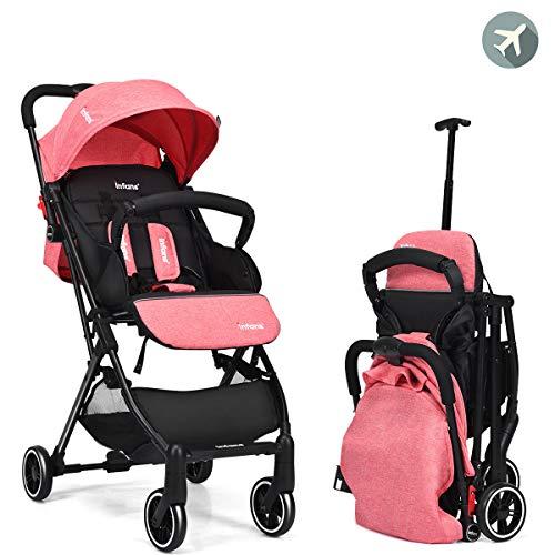 INFANS Lightweight Baby Stroller | Folding Travel Stroller with Extendable Pull Rod, Safe Five-Point Harness, Adjustable Backrest & Footrest, Storage Basket, Cup Holder, for 0-3 Year (Red)