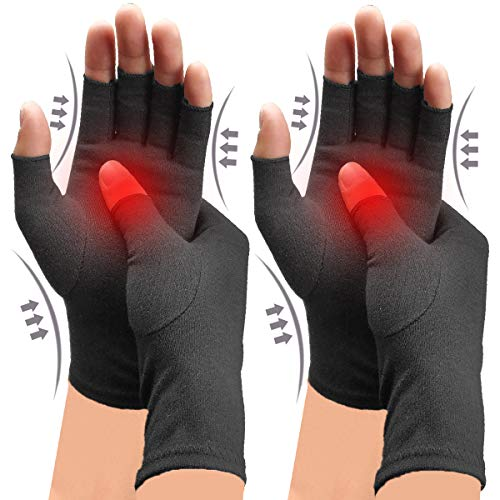 2 Pairs Compression Gloves Arthritis Gloves for Women Men Carpal Tunnel Gloves Relieve Arthritis Pain Fingerless Design Breathable Moisture Wicking Fabric Comfortable Fit M Black