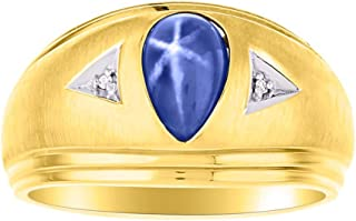RYLOS 14K Yellow Gold Ring Timeless Pear Shape Tear Drop Cabochone Color Stone Gemstone & Natural Diamond Rings