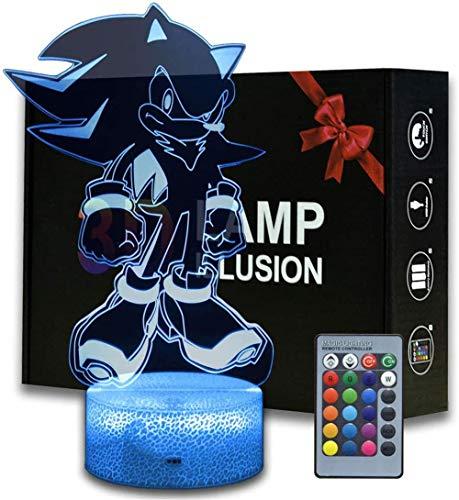Luz nocturna 3D, lámpara de ilusiones con mando a distancia, 16 colores multicolores, con cambio USB, lámpara de mesa LED para decoración para niños, Navidad, Halloween, cumpleaños, Sonic The Hedgehog