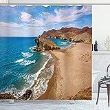 ABAKUHAUS Landschaft Duschvorhang, Sommer-Strand-Spanien, Hochwertig mit 12 Haken Set Leicht zu pflegen Farbfest Wasser Bakterie Resistent, 175 x 200 cm, Blau Braunen